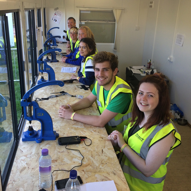 Early doors staff wristbanding team at Glastonbury 2016.