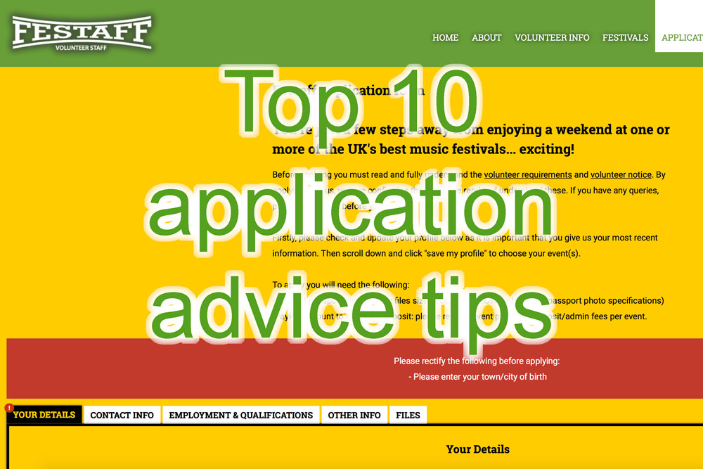 Ten top tips when applying to volunteer with Festaff
